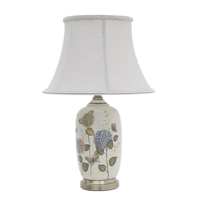 Φωτιστικό επιτραπέζιο λουλούδια κεραμικό πολύχρωμο 34x60cm Inart 3-15-959-0044