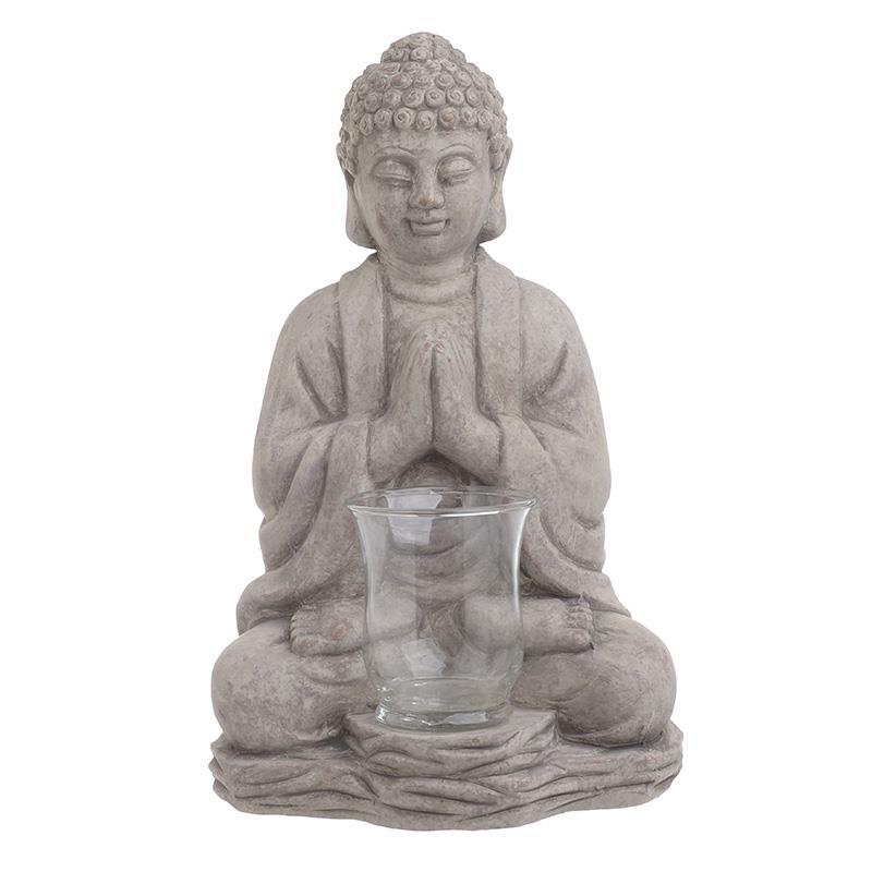 Κηροπήγιο Βούδας τσιμεντένιο/γυάλινο γκρι 20x16x35cm Inart 3-70-327-0119