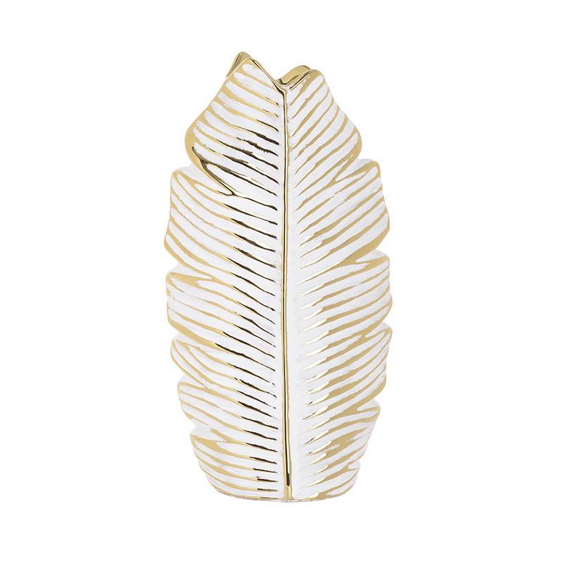 Βάζο διακοσμητικό Φύλλο κεραμικό χρυσό/λευκό 15x8x29cm Inart 3-70-498-0022