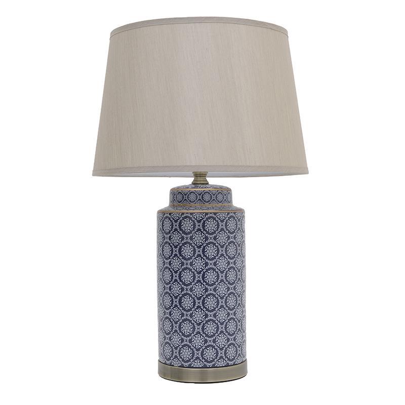 Φωτιστικό επιτραπέζιο κεραμικό μπλε 33x77cm Inart 3-15-959-0047