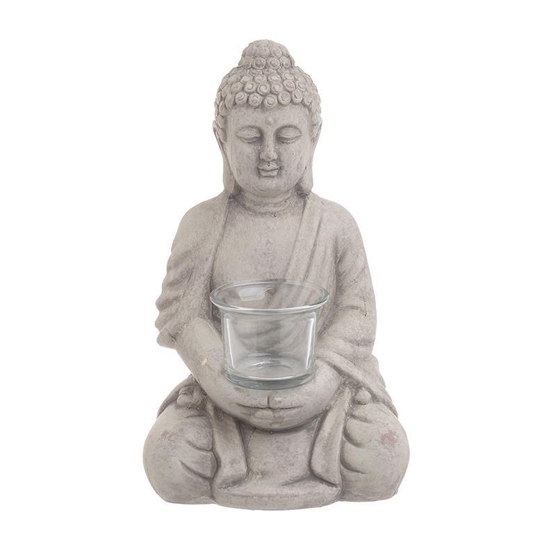 Κηροπήγιο Βούδας τσιμεντένιο/γυάλινο γκρι 19x16x30cm Inart 3-70-327-0121