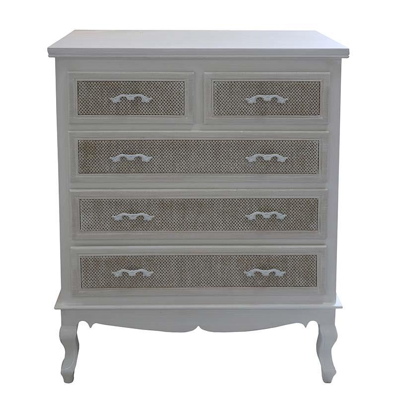 Συρταριέρα ξύλινη εκρού 80x40x92cm Inart 3-50-147-0103