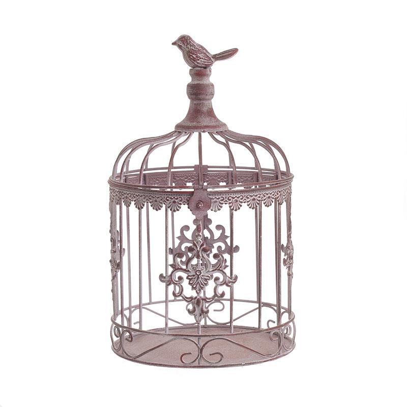 Φανάρι/Κλουβί διακοσμητικό μεταλλικό αντικέ ροζ 18x18x30cm Inart 3-70-609-0046