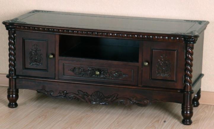 Έπιπλο τηλεόρασης με 2 πόρτες, 1 ράφι και 1 συρτάρι ξύλινο σκούρο καρυδί 107x44x54cm Home Plus 01.01.0245