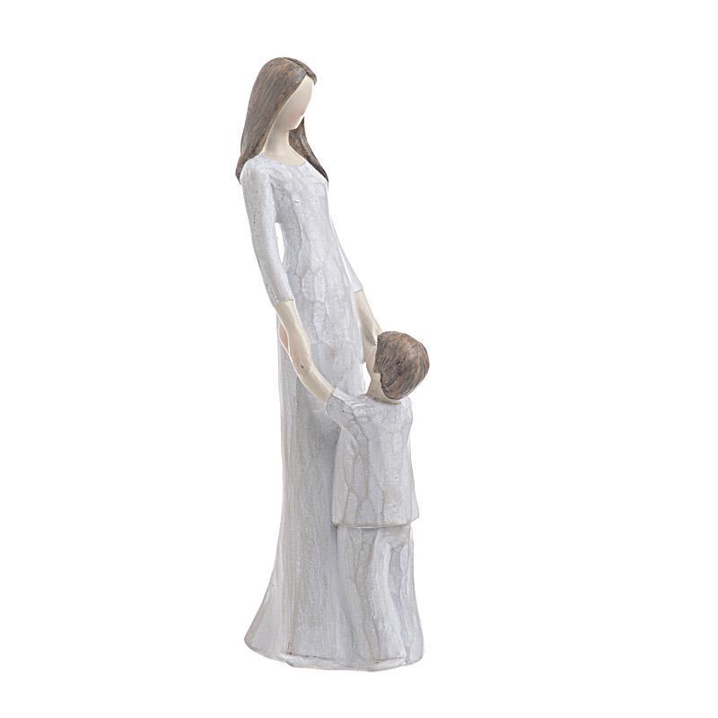 Μητέρα/παιδί διακοσμητικό polyresin εκρού 8x10x26cm Inart 3-70-328-0002