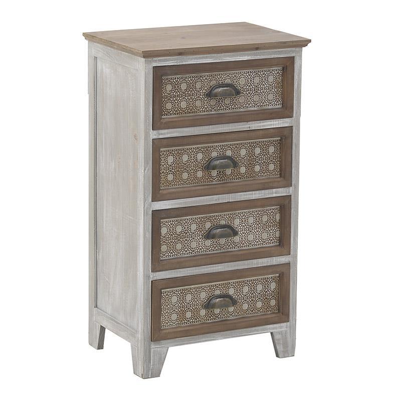 Συρταριέρα ξύλινη natural 45x32x82cm Inart 3-50-314-0028