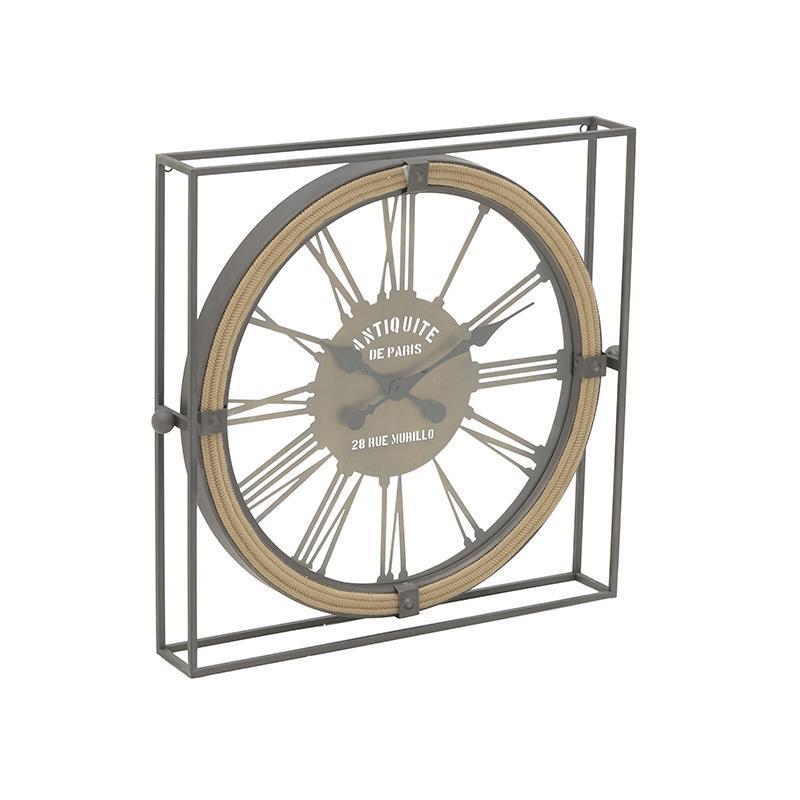 Ρολόι τοίχου μεταλλικό/σχοινί μαύρο/natural 58x8x54cm Inart 3-20-153-0002