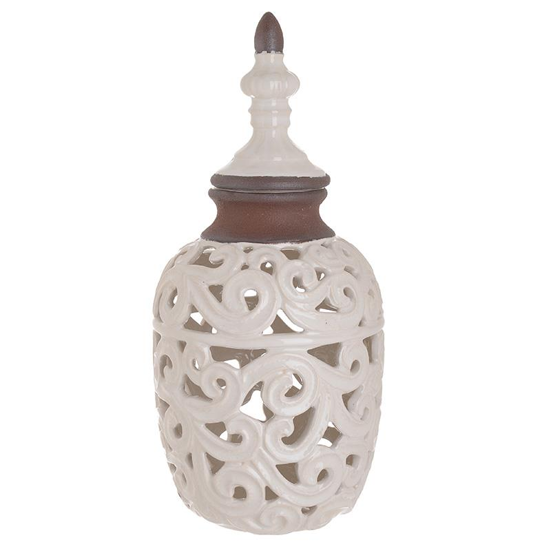 Βάζο διακοσμητικό κεραμικό λευκό 16x16x35cm Inart 3-70-663-0301