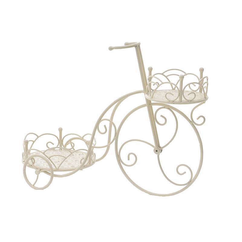 Ανθοστήλη/Ποδήλατο διακοσμητική 2θέσεων μεταλλική λευκή 60x25x45cm Inart 3-70-207-0164