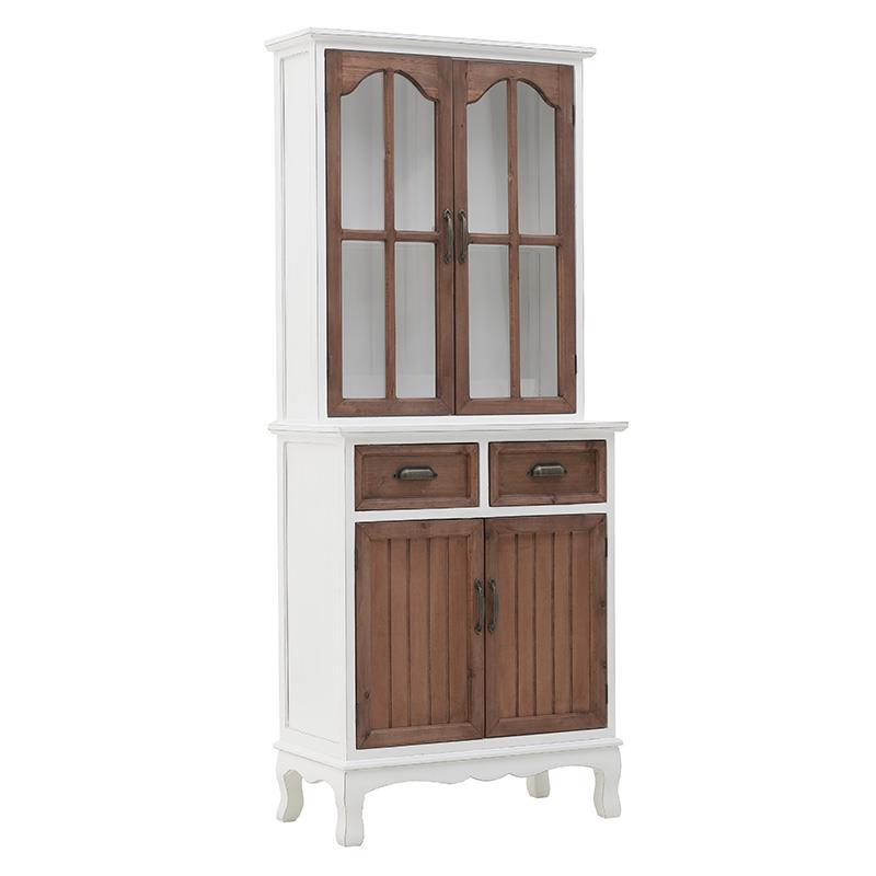 Βιτρίνα/Ντουλάπι ξύλινη λευκή/natural 65x34x160cm Inart 3-50-960-0003