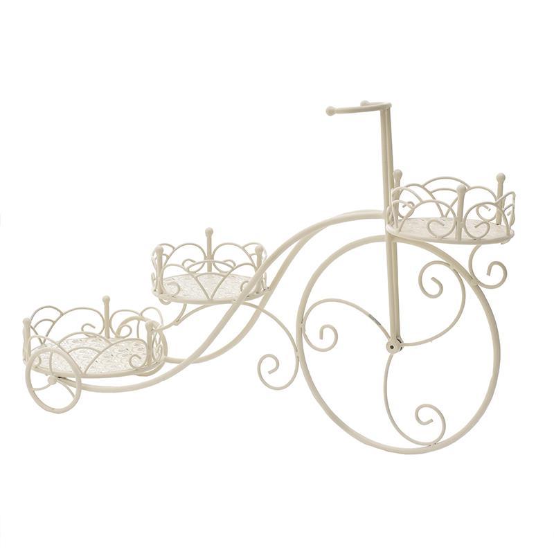 Ανθοστήλη/Ποδήλατο διακοσμητική 3θέσεων μεταλλική λευκή Inart 3-70-207-0165