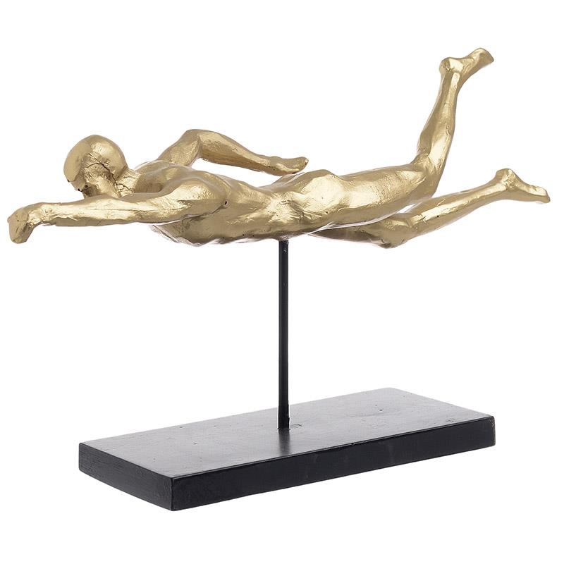 Κολυμβητής διακοσμητικό polyresin μαύρο/χρυσό Inart 3-70-645-0012