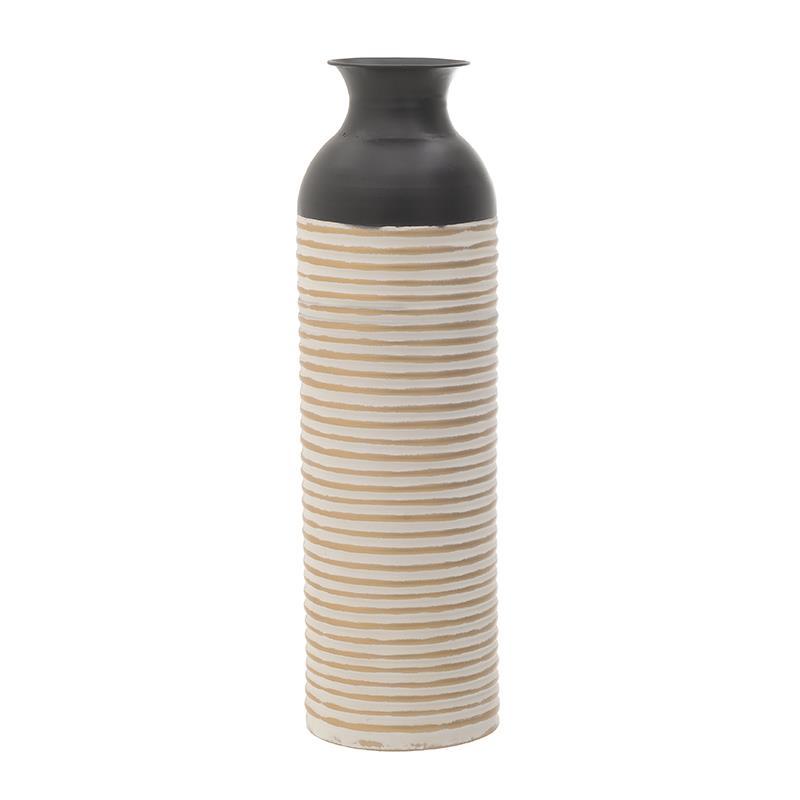 Βάζο διακοσμητικό μεταλλικό λευκό/μαύρο 18x60cm Inart 3-70-447-0118