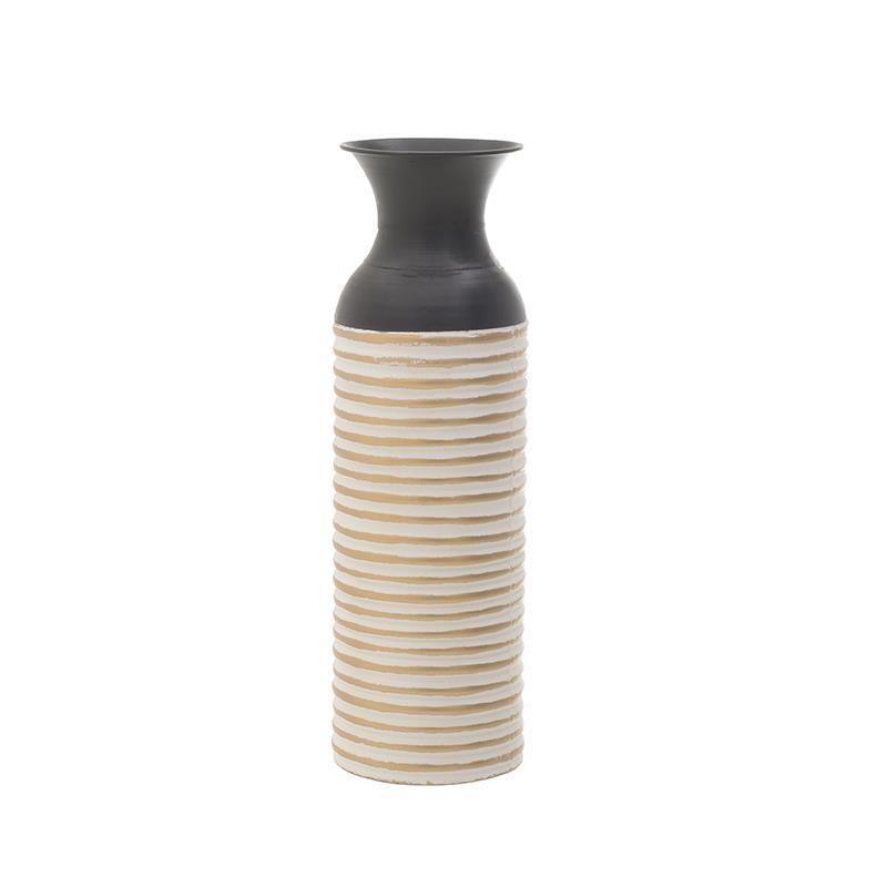 Βάζο διακοσμητικό μεταλλικό λευκό/μαύρο 15x46cm Inart 3-70-447-0119