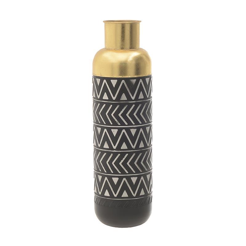 Βάζο διακοσμητικό μεταλλικό μαύρο/χρυσό 17x57cm Inart 3-70-447-0120