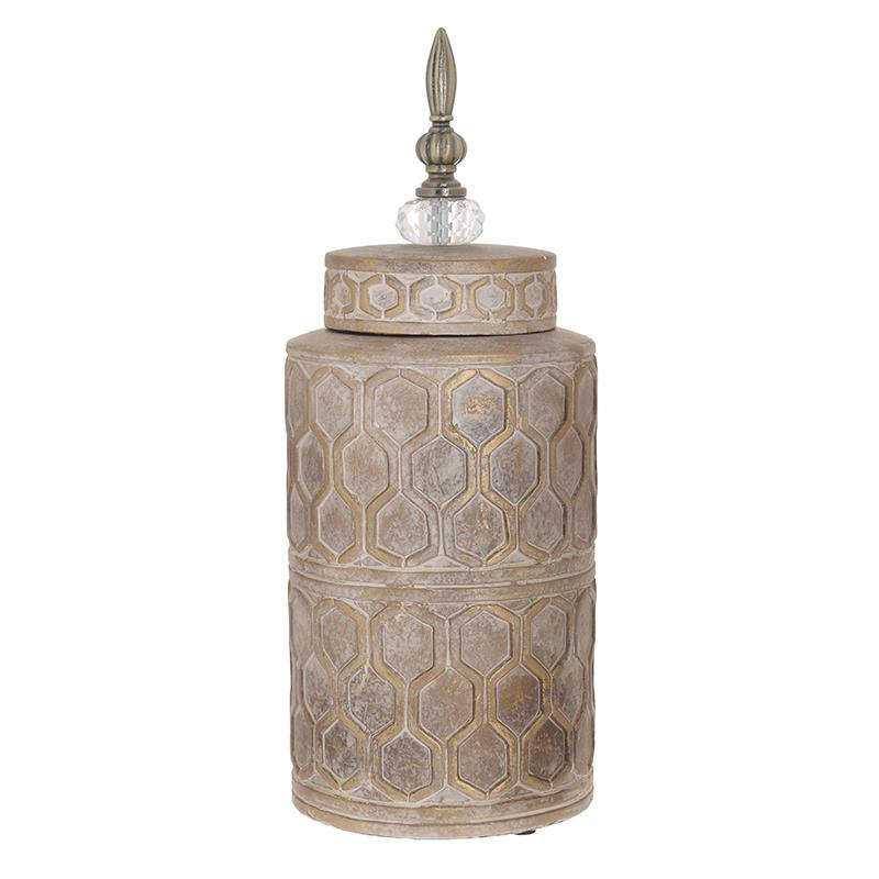 Βάζο με καπάκι διακοσμητικό κεραμικό αντικέ εκρού 14x43cm Inart 3-70-902-0117