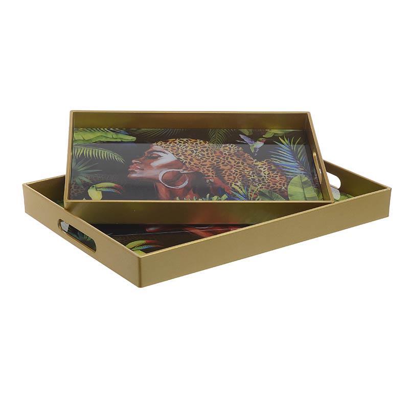 S/2 Δίσκος σερβιρίσματος pl γυναικεία φιγούρα πολύχρωμος 40x30x4cm Inart 3-70-684-0013
