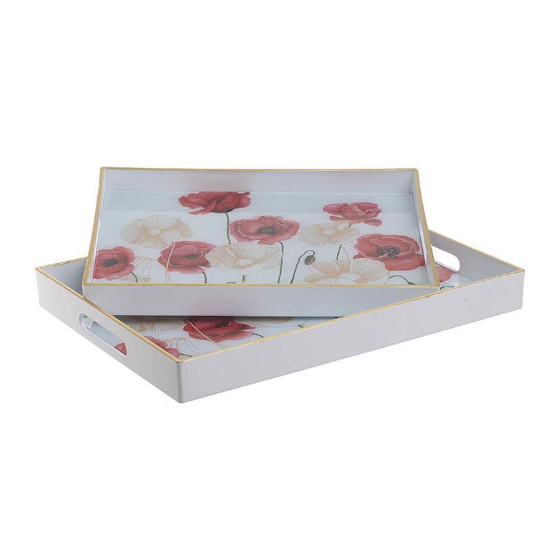 S/2 Δίσκος σερβιρίσματος pl λουλούδια 40x30x4cm Inart 3-70-684-0014