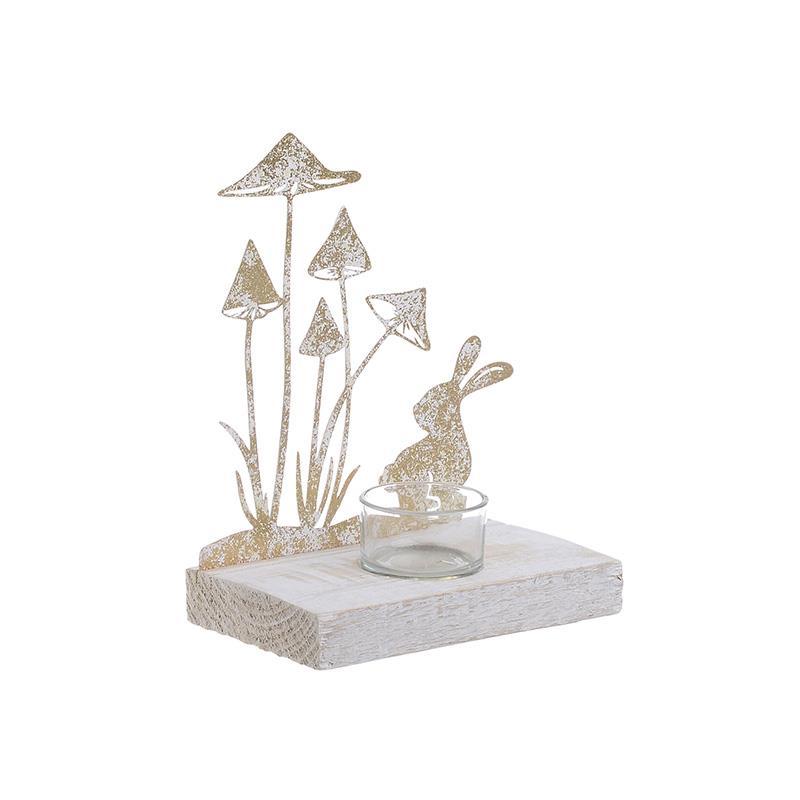 Κηροπήγιο μεταλλικό/ξύλινο αντικέ χρυσό/λευκό 15x10x15cm Inart 3-70-669-0041