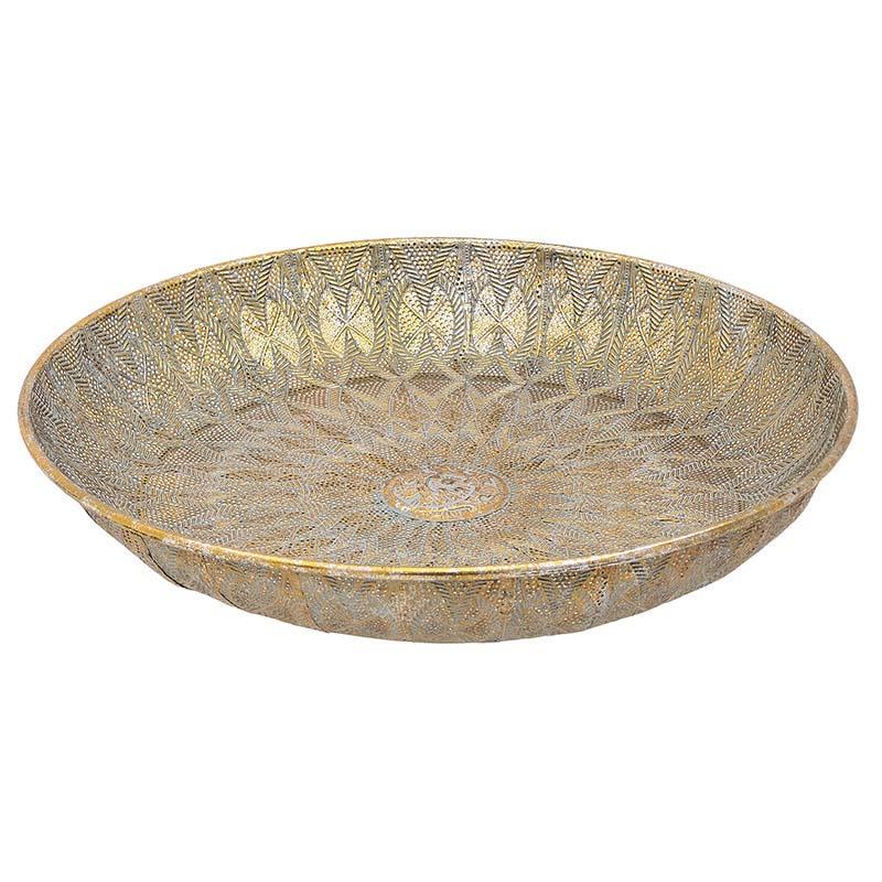 Πιατέλα διακοσμητική μεταλλική αντικέ χρυσή 54x9cm Inart 3-70-993-0025