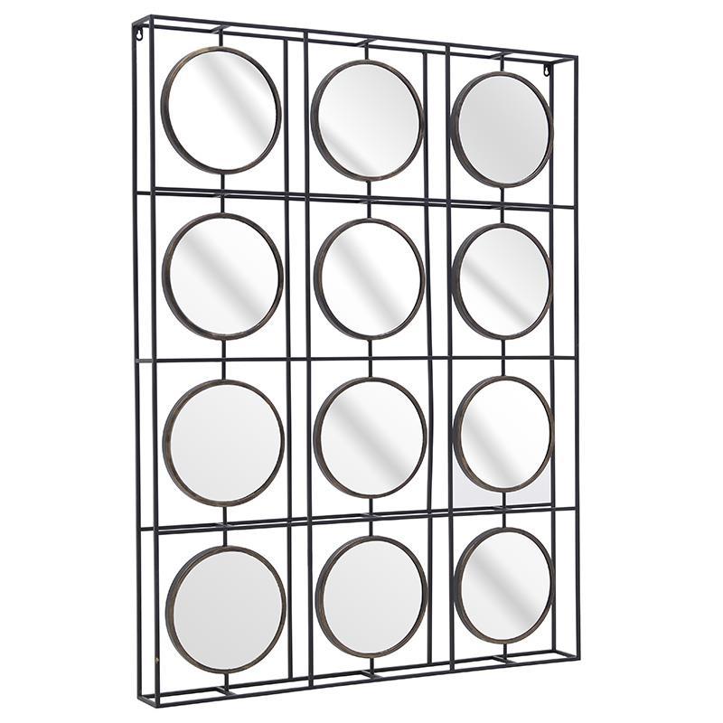 Καθρέπτης τοίχου Πολλαπλός μεταλλικός μαύρος 100x10x135cm Inart 3-95-293-0009