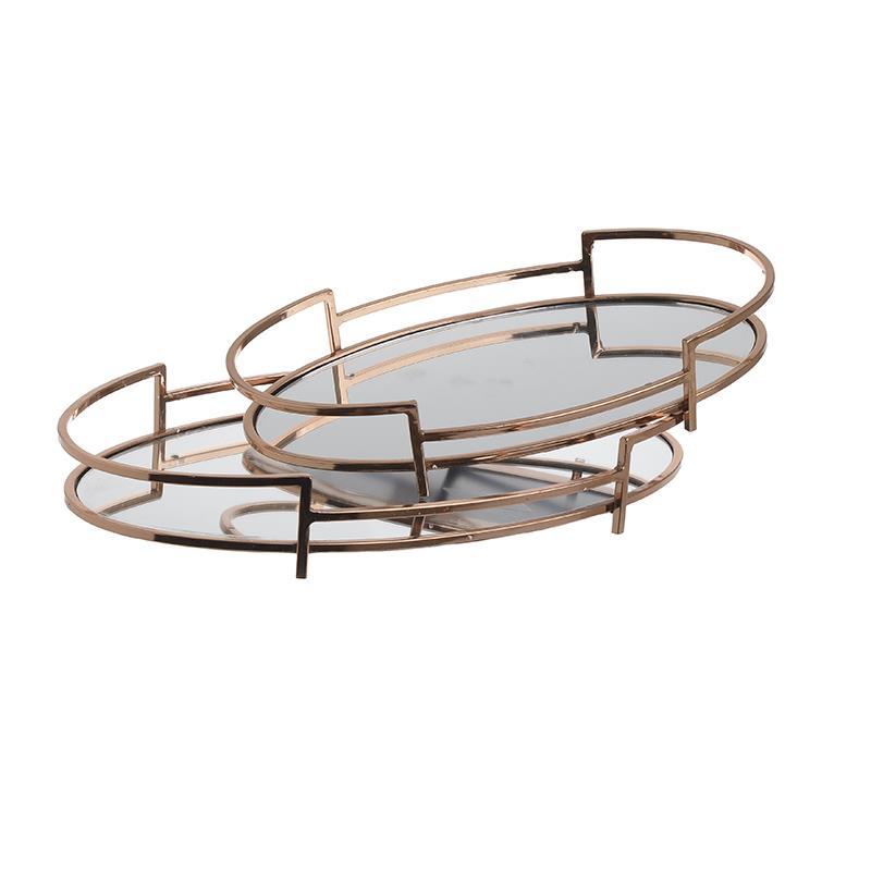 S/2 Δίσκος σερβιρίσματος μεταλλικός/καθρέπτης ροζ/χρυσό 40x26x6cm Inart 3-70-729-0036