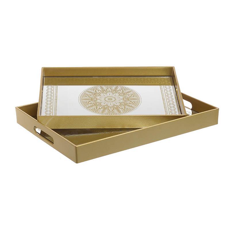 S/2 Δίσκος σερβιρίσματος pl χρυσός 40x30x4cm Inart 3-70-684-0019
