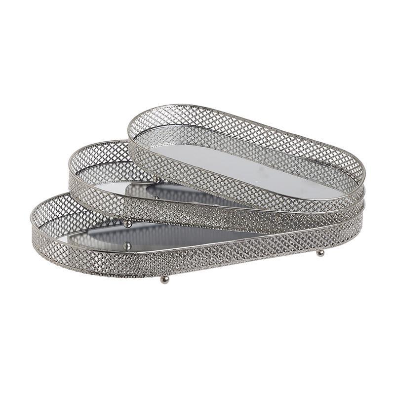 S/3 Δίσκος σερβιρίσματος μεταλλικός/καθρέπτης ασημί 39x20x4cm Inart 3-70-729-0044