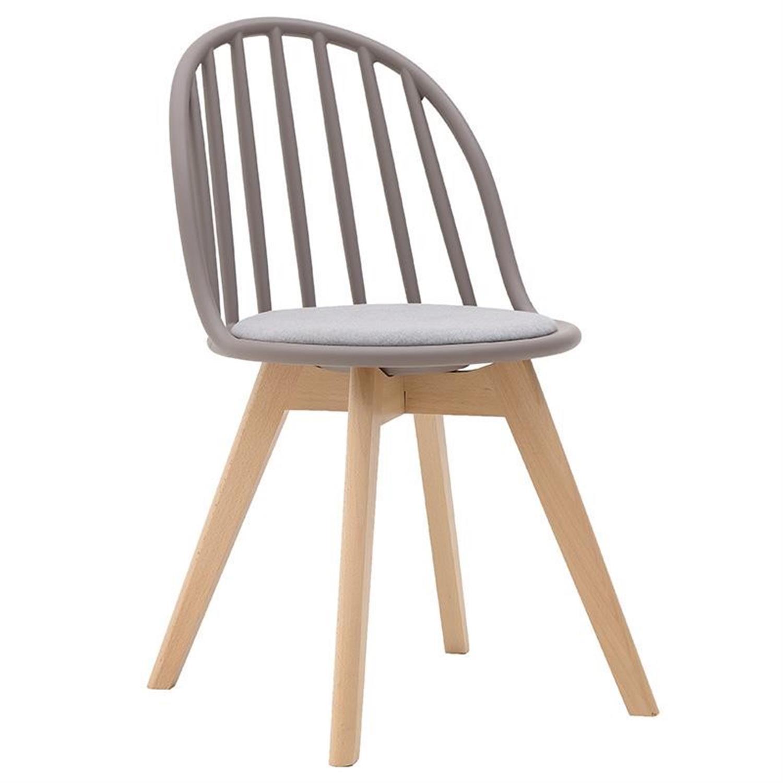 Καρέκλα pp/ξύλινη γκρι/natural 52x44x80/45cm Inart 3-50-680-0018