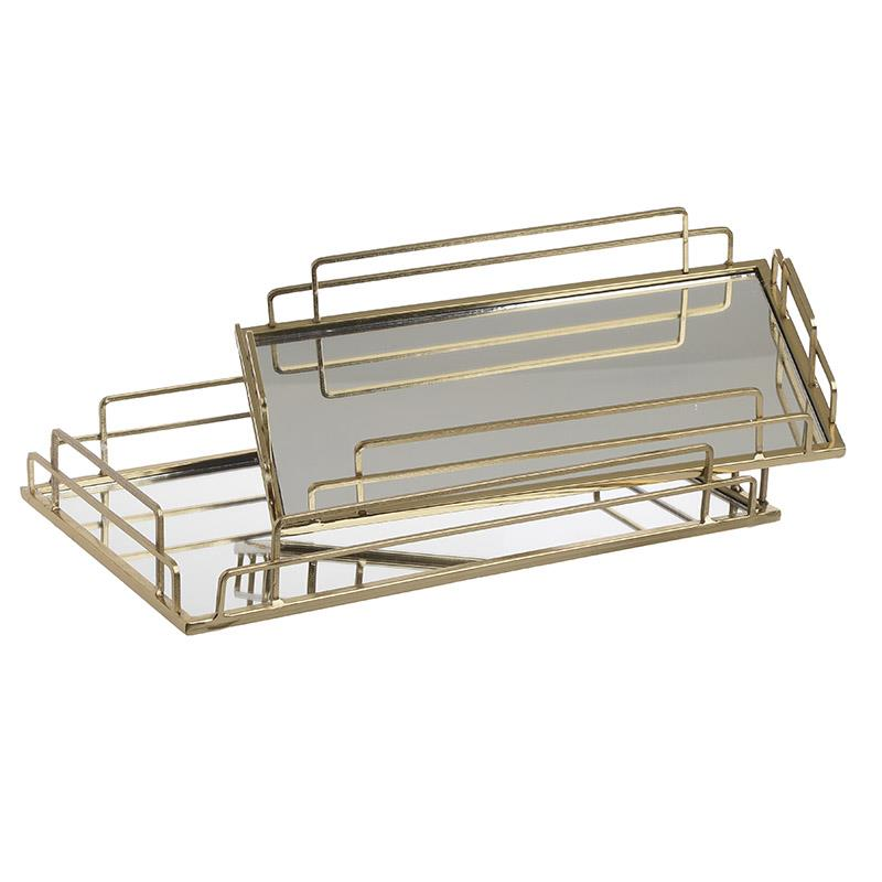 S/2 Δίσκος σερβιρίσματος μεταλλικός/καθρέοτης χρυσός 40x24x6cm Inart 3-70-729-0045