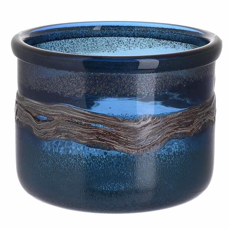 Βάζο διακοσμητικό γυάλινο μπλε 20x17cm Inart 3-70-900-0019