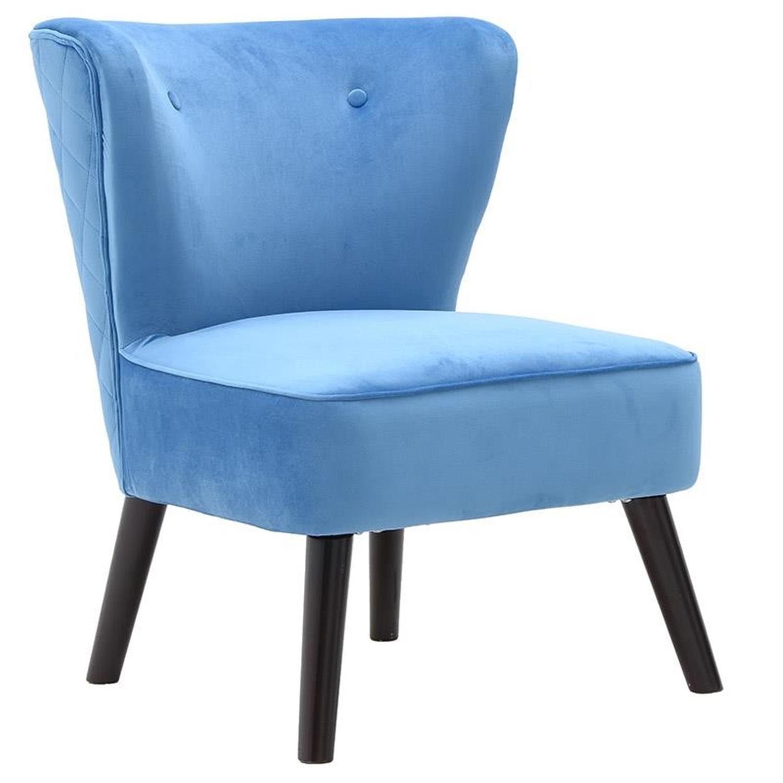 Καρέκλα βελούδινη/ξύλινα πόδια μπλε 57x58x80cm Inart 3-50-234-0004