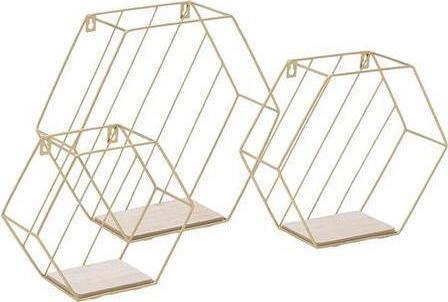 S/3 Ράφι τοίχου μεταλλικό/ξύλινο χρυσό/natural 34x11x30cm Inart 6-50-582-0002