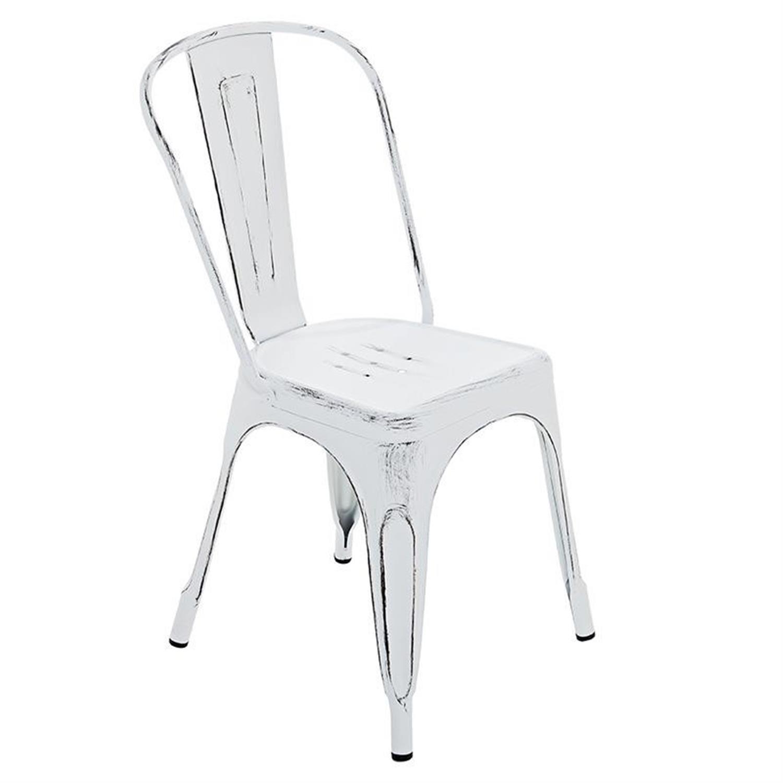 Καρέκλα μεταλλική αντικέ λευκή 48x45x85cm Inart 3-50-998-0001
