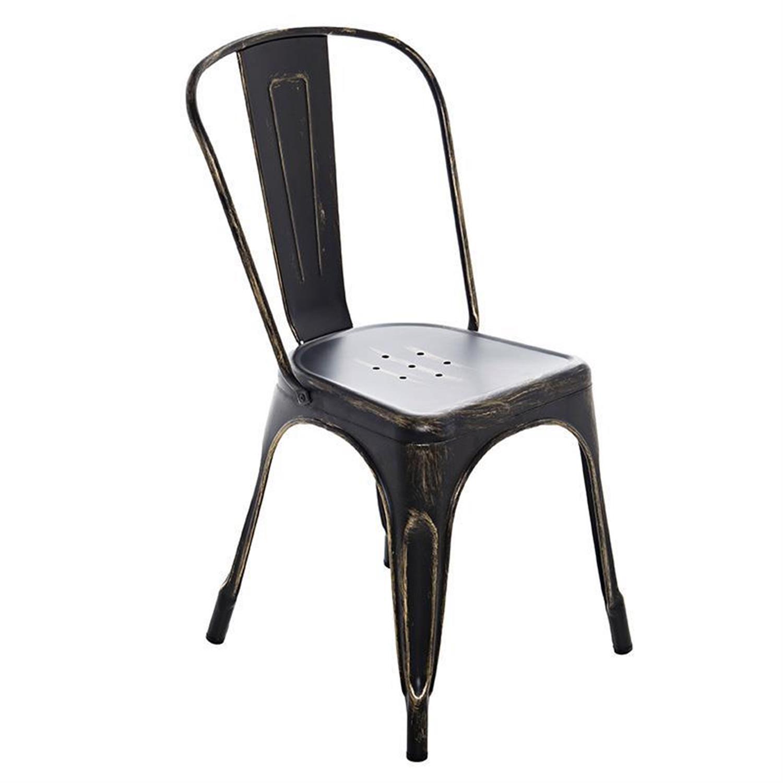 Καρέκλα μεταλλική αντικέ μαύρο 48x45x85cm Inart 3-50-998-0002