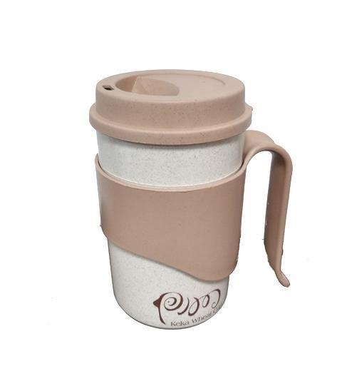 Κούπα καφέ οικολογική με χερούλι 450ml μπεζ/καφέ