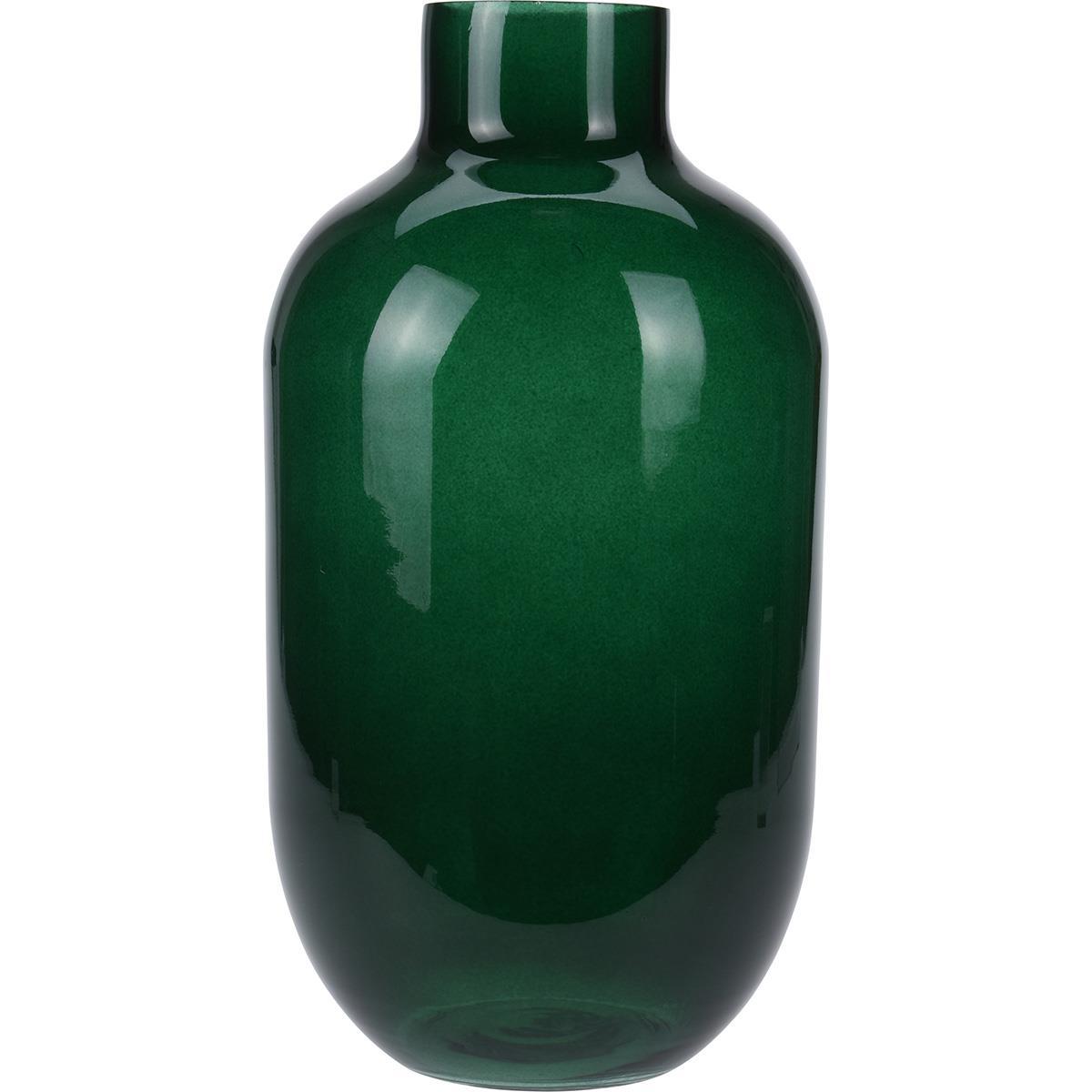 Βάζο διακοσμητικό γυάλινο πράσινο 19x35cm