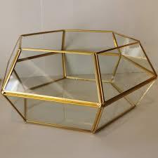 Κουτί πολυγωνικό γυάλινο διάφανο/χρυσό 20x21cm