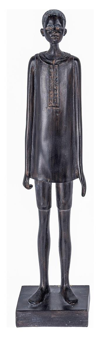 Φιγούρα διακοσμητική αφρικάνικη άνδρας κεραμική μαύρη