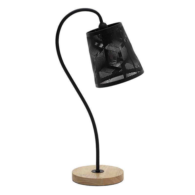 Φωτιστικό επιτραπέζιο μεταλλικό/ξύλινο μαύρο/natural Δ22x15x46cm Inart 3-15-774-0051