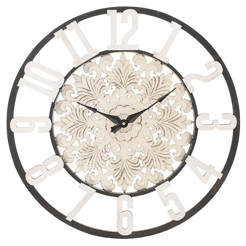 Ρολόι τοίχου ξύλινο/μεταλλικό αντικέ λευκό/μαύρο 60x4x60cm Inart 3-20-477-0009