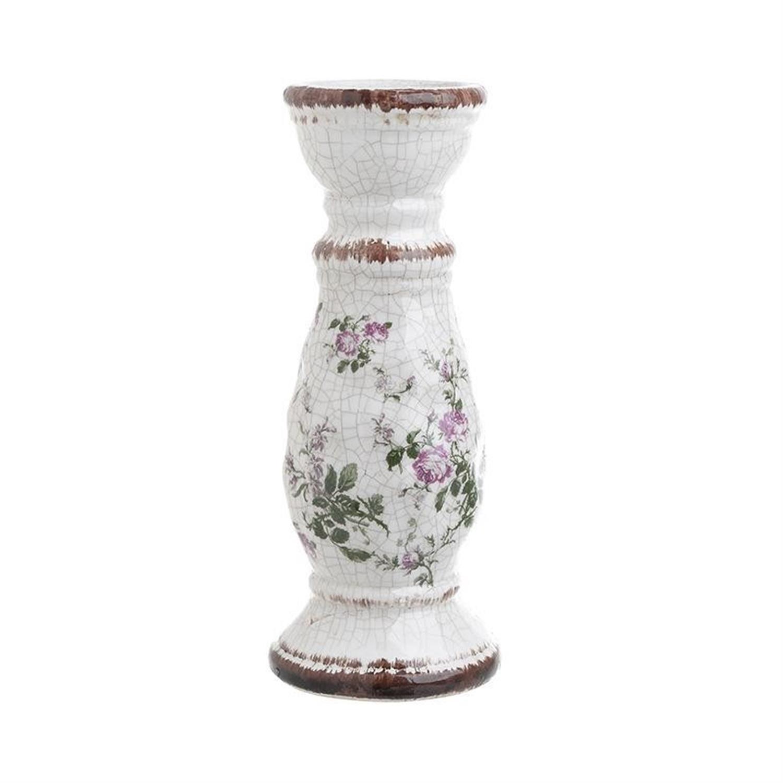 Κηροπήγιο με λουλούδια κεραμικό αντικέ λευκό 10.5×10.5×25.5cm Inart 3-70-185-0020