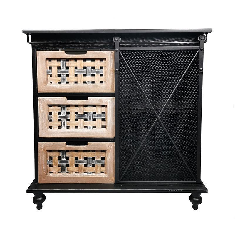 Ντουλάπι μεταλλικό/ξύλινο μαύρο/natural 63x40x70cm Inart 3-50-750-0003