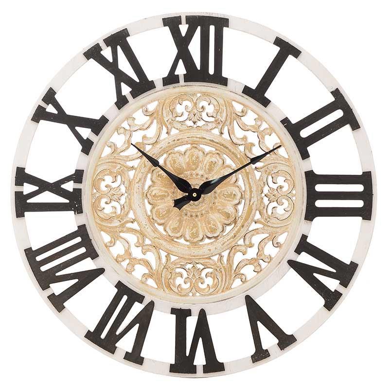 Ρολόι τοίχου ξύλινο/μεταλλικό αντικέ λευκό/μαύρο 60x4x60cm Inart 3-20-477-0011