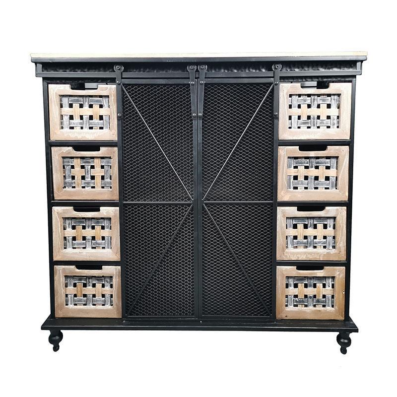 Μπουφές μεταλλικός/ξύλινος μαύρος/natural 100x38x90cm Inart 3-50-750-0006