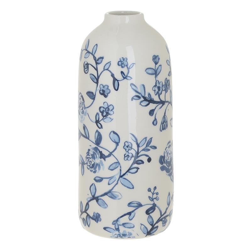 Βάζο διακοσμητικό κεραμικό μπλε/λευκό 11x25cm Inart 3-70-105-0788