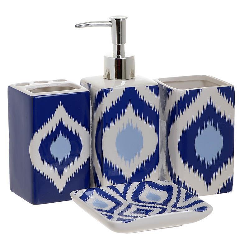 S/4 Σετ μπάνιου κεραμικό λευκό/μπλε 22x22x7,5cm Inart 3-65-151-0002