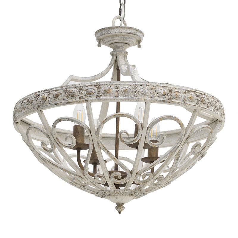 Φωτιστικό oροφής 4φωτο μεταλλικό αντικε/λευκό/χρυσό Δ58cm Inart 3-10-725-0047