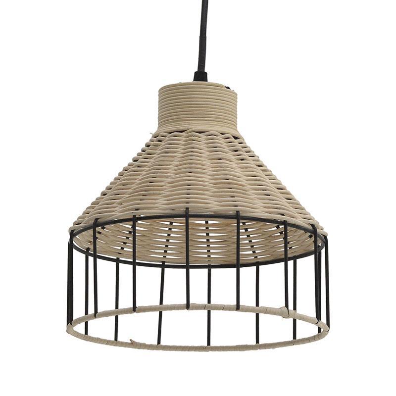 Φωτιστικό οροφής μεταλλικό/ραττάν μαύρο/natural Δ22x21cm Inart 3-10-733-0002