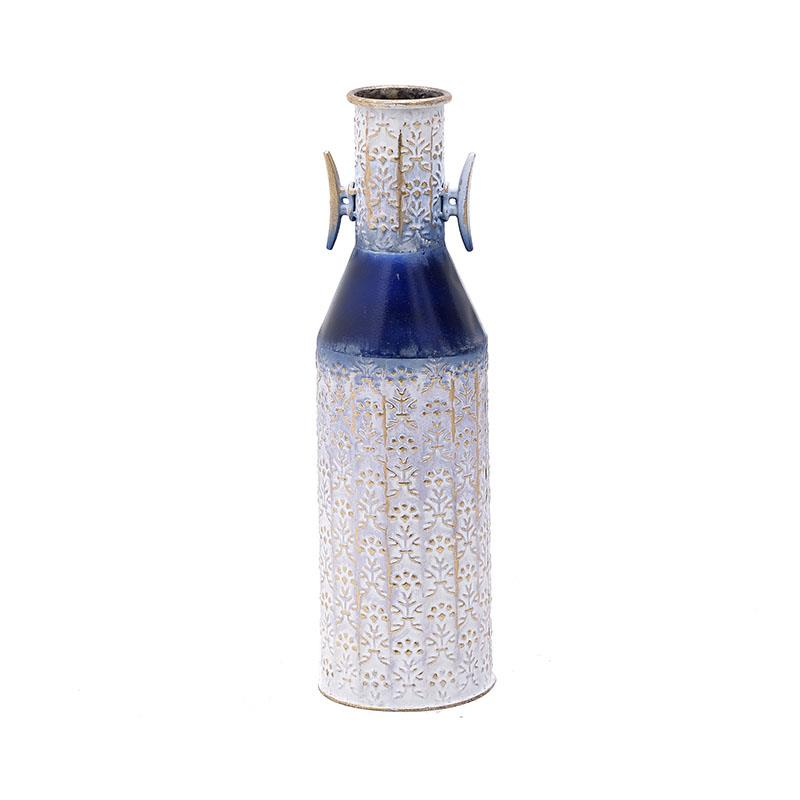 Βάζο διακοσμητικό μεταλλικό αντικέ λευκό/μπλε Inart 3-70-480-0038
